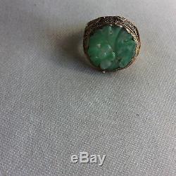 Chinese Green Flower Jade Jadite Gilt Silver Ring SZ 7 Adjustable AS IS FINAL