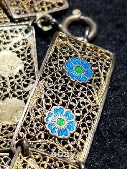 Chinese Import Gold Silver Filigree Bracelet Enamel Blue Green Flowers