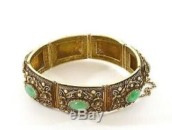 Chinese Jade Jadeite Carved Carving Gilt Sterling Silver Filigree Bracelet Mk