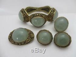 Chinese Jade Sterling Silver Gilt Ring Brooch Bracelet Earrings Vintage tbj07768