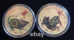 Chinese Lunar New Year Collection (11) 24k Gold Layered. 999 Fine Silver Rounds