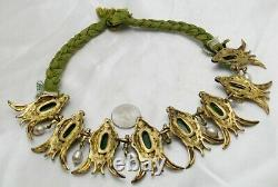 Chinese Ming Dynasty Jade & Pearl Necklace with Gold Gilding on Silver