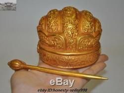 Chinese Palace Silver gilt 24K Gold Royal Funerary headgear hat cap Hairpin Set