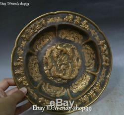 Chinese Pure Silver 24K Gold Gilt Grass Phoenix Bird Flower Plate Dish Tray