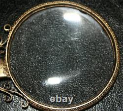 Chinese Republic Carved Jade Openwork Handled Magnifying Glass Gilt Silver