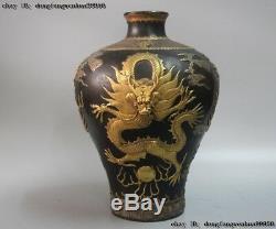 Chinese Royal Pure Bronze 24K Gold Gilt Silver Dragon Play Bead Pot Bottle Vase