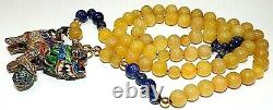 Chinese STER. SILVER ENAMEL 14k gold Beads YELLOW JADE FILIGREE FOO DOG NECKLACE
