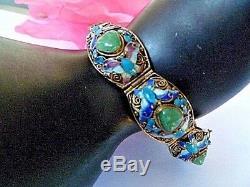 Chinese Signed Silver, Enamel & Jade Set Panels Gilt Bracelet