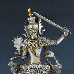 Chinese Silver Copper Gilt Handwork Carved Bodhisattva Manjusri Statue