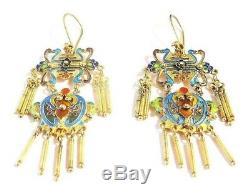 Chinese Silver Gilt BAT Dangle Earrings New Old Stock Cloisonne Enamel Shou Luck