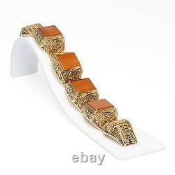 Chinese Silver Gilt & Carnelian Bracelet Filigree Design Vintage Republican
