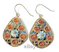 Chinese Silver Gilt Filigree Carnelian Cabochons Enamel Dangle Earrings Sterling