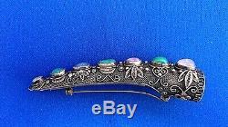 Chinese Silver Gilt Fingernail Guard Brooch
