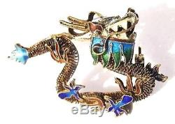 Chinese Sterling Gilt Filigree Enamel DRAGON Pin Vintage Silver Cloisonne Brooch