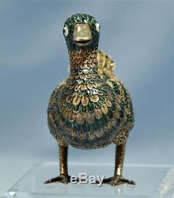 Chinese Sterling Gilt-Silver Filigree & Enamel Figure of a DUCK 20th Century