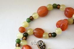 Chinese Sterling Silver, 10K Solid Gold, Carnelian and Jade Necklace