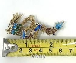 Chinese Sterling Silver Gilt Filigree Dragon Enamel Cloisonne Brooch Pendant