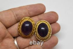 Chinese Sterling Silver and Large Natural Amethyst Gold Washed Clip On Earrings