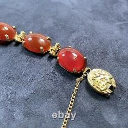 Chinese Vintage Silver Carnelian Bead Bracelet Gold Wash