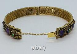 Chinese Vintage Sterling Silver Gold Vermeil Amethyst Enamel Filigree Bracelet
