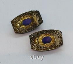 Chinese Vintage Sterling Silver Gold Vermeil Amethyst Filigree Clip Earrings