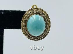 Chinese Vintage Sterling Silver Gold Vermeil Blue Turquoise Clip Earrings