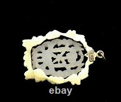 Chinese White Jade Carved Carving Plaque Gilt Silver Enamel Pendant Necklace Mk