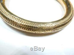 Chinese bracelet Dragon Chasing Pearl Gilt finish over silver thick Bangle