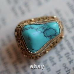 Chinese export filigree handmade gilded sterling silver earrings TURQUOISE 50's