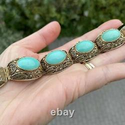 Chinese filigree gilded sterling silver turquoise bracelet and clip-on earrings