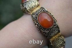 Chinese filigree handmade gilded sterling silver bracelet natural agate 53g 60's