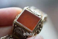 Chinese filigree handmade gilded sterling silver bracelet natural agate 62g 50's
