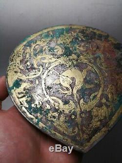 Chinese gilt bronze Damloup Plated silver massive beasts&Dragon vein Danglu #02