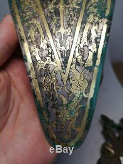 Chinese gilt bronze Damloup Plated silver massive beasts&Dragon vein Danglu