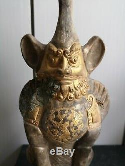 Chinese gilt bronze Tomb Guardian long horn tomb Guardian Beast bird vein