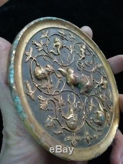 Chinese gilt bronze mirror beasts&flower pattern silver mirror