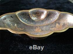 Chinese gilt bronze plate silver cup bowl phoenix veins dynasty wine vessel cup