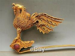 Chinese gilt silver Hairpin gem inlaid phoenix motif hollow dynasty hairpin