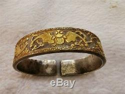 Chinese gilt silver bracelet aerial mammal motif dynasty bracelet