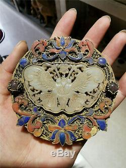 Chinese gilt silver gem inlaid Jewelry hollow box ancient royal Jewelry box