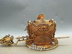 Chinese gilt silver gem inlaid hair ornament ancient royal dragon motif ornament