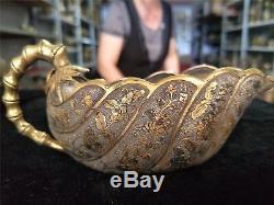 Chinese gold&silver bowls cups gilt bronze hand carve flower&leaf motif bowls