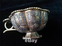 Chinese gold&silver bowls cups gilt bronze hand carved human figurine vein cups