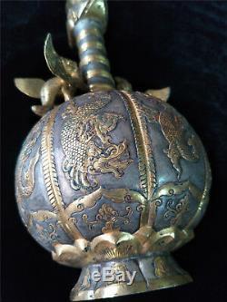 Chinese gold&silver pot gilt bronze dragon&beast veins cock head pots