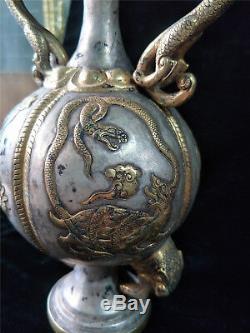 Chinese gold&silver pot gilt bronze dragon&phoenix veins two dragon handle pots