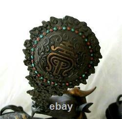 Chinese jade gilded sterling silver & coral Deer figures Qing antique 1513 gr