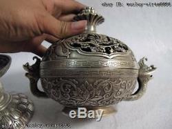 Chinese pure bronze silver-gilt foo dog fish lotus flower censer incense burner