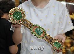 Chinese pure silver 24k gold Gilt Inlay Green jade gem lucky Wishful RuYi statue