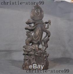 Chinese silver Gilt Buddhism Joss Dragon Kwan-Yin GuanYin Goddess Buddha Statue