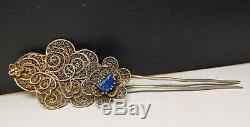 Chinese silver gilt hairpin inlaid gem flower pattern hairpin women head decor